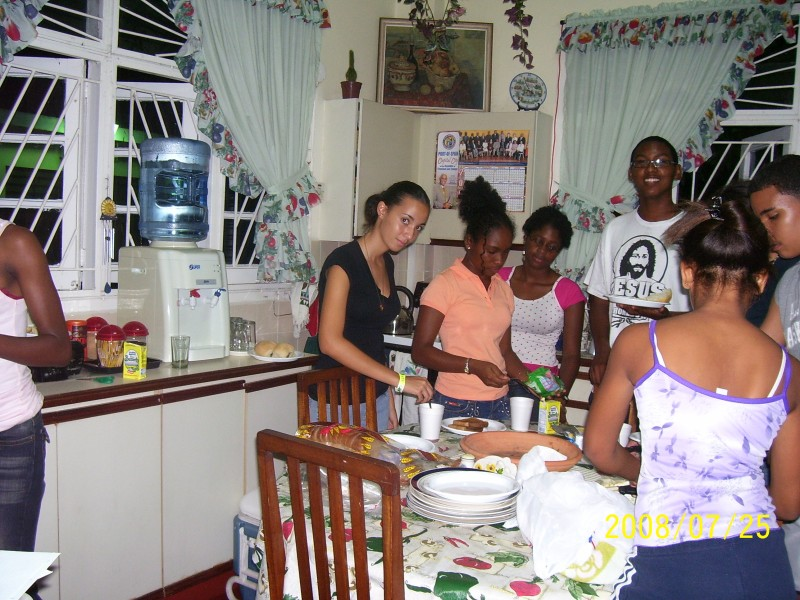 Guests preparing a meal